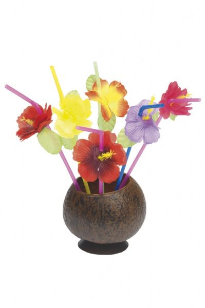 Hawaiian Straws with Flowers